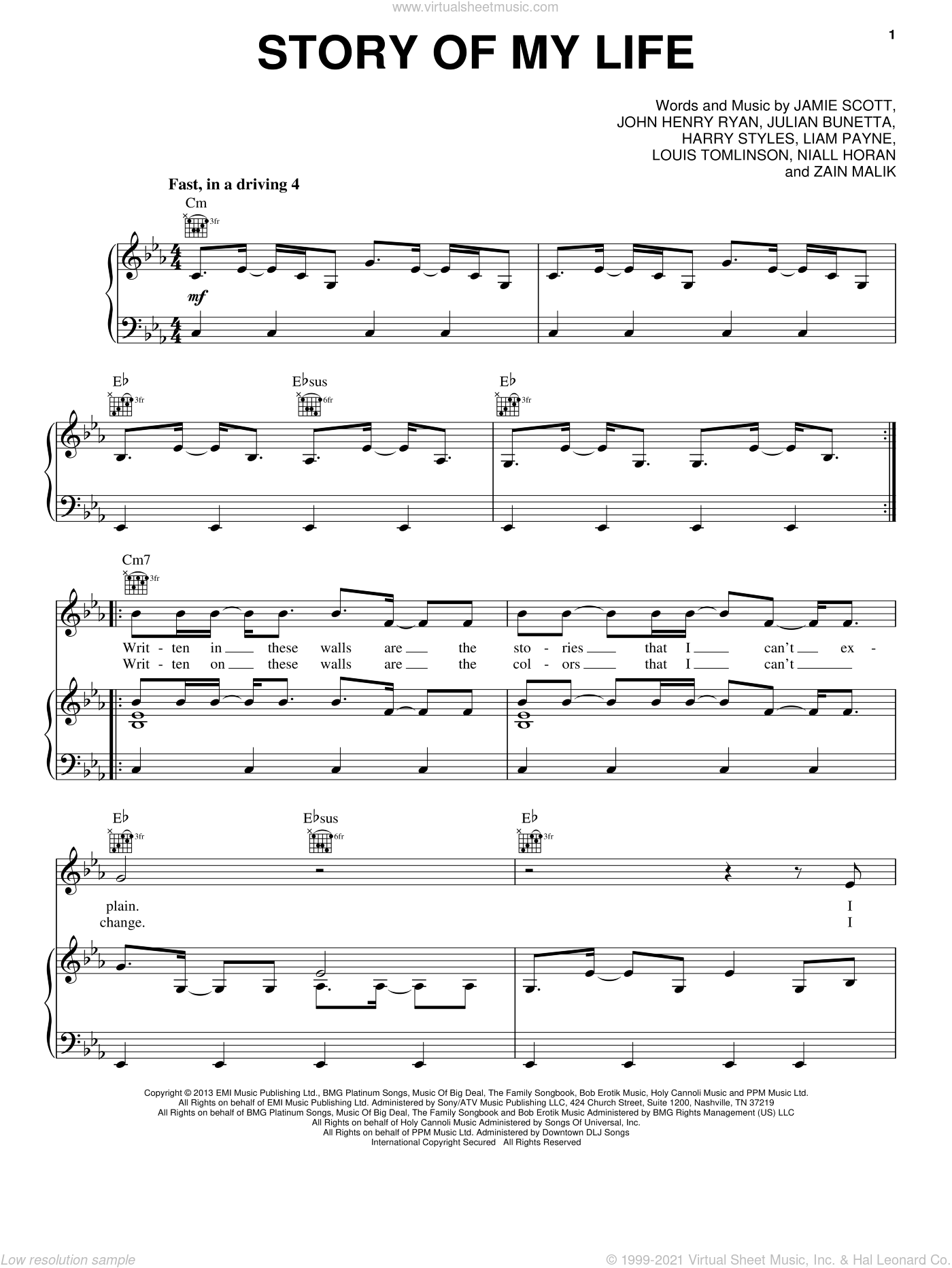 Story Of My Life sheet music for voice, piano or guitar by One Direction