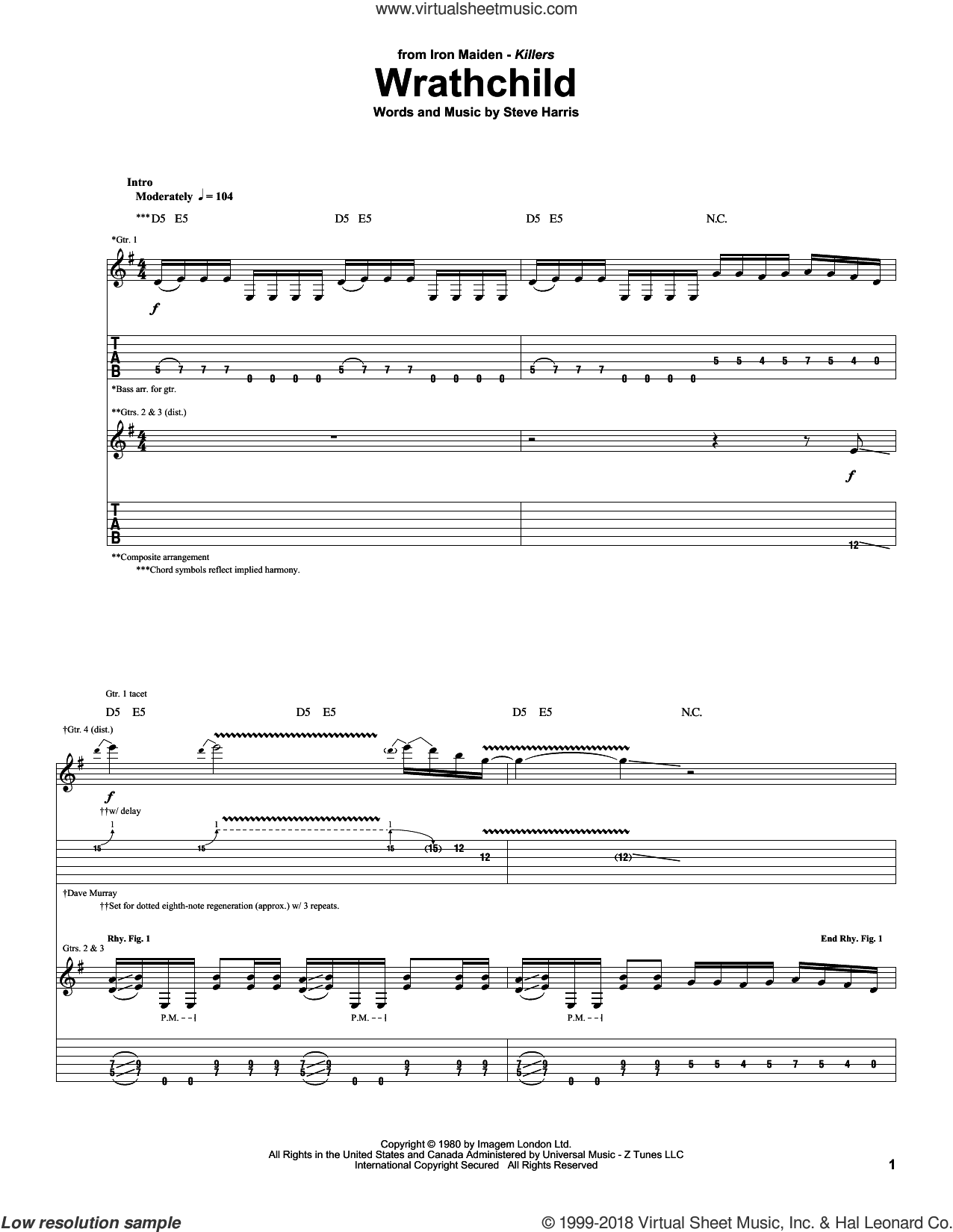 Wrathchild sheet music for guitar (tablature) by Iron Maiden and Steve Harris. Score Image Preview.