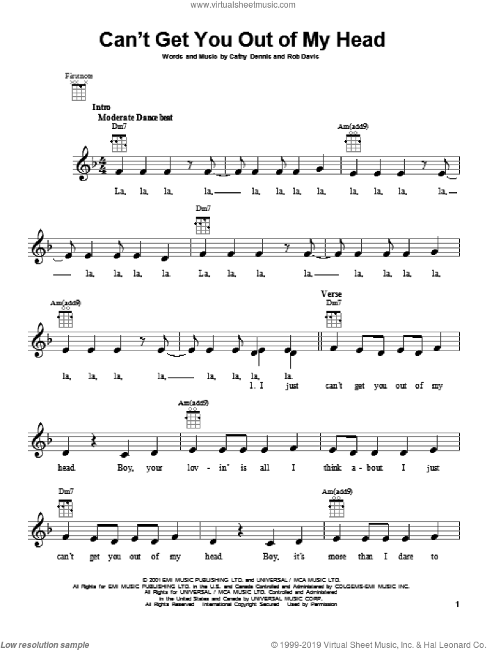 Can't Get You Out Of My Head sheet music for ukulele by Kylie Minogue, intermediate. Score Image Preview.
