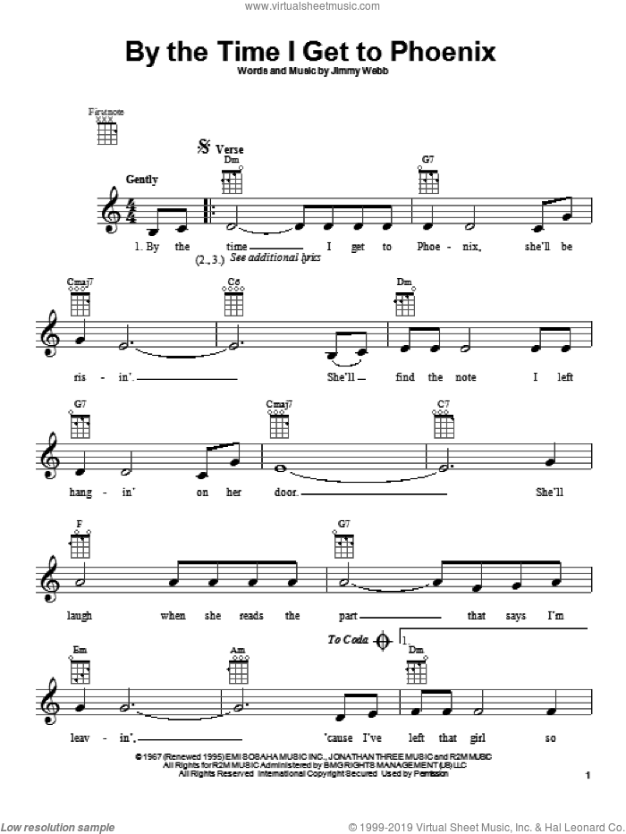 By The Time I Get To Phoenix sheet music for ukulele by Glen Campbell and Isaac Hayes, intermediate. Score Image Preview.