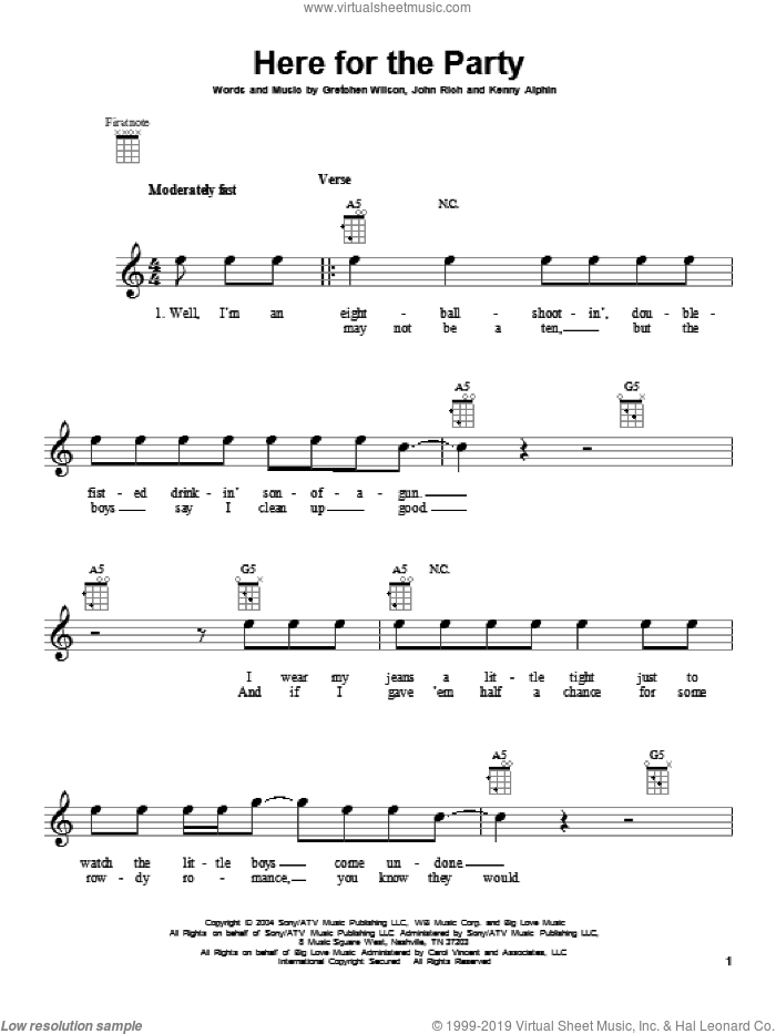 Here For The Party sheet music for ukulele by Gretchen Wilson. Score Image Preview.