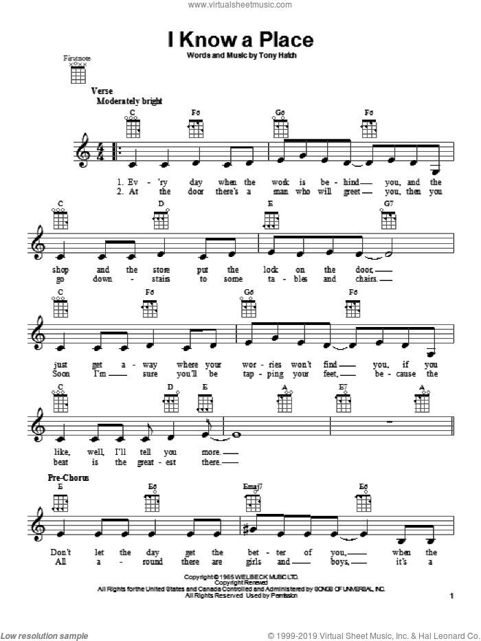 I Know A Place sheet music for ukulele by Petula Clark. Score Image Preview.