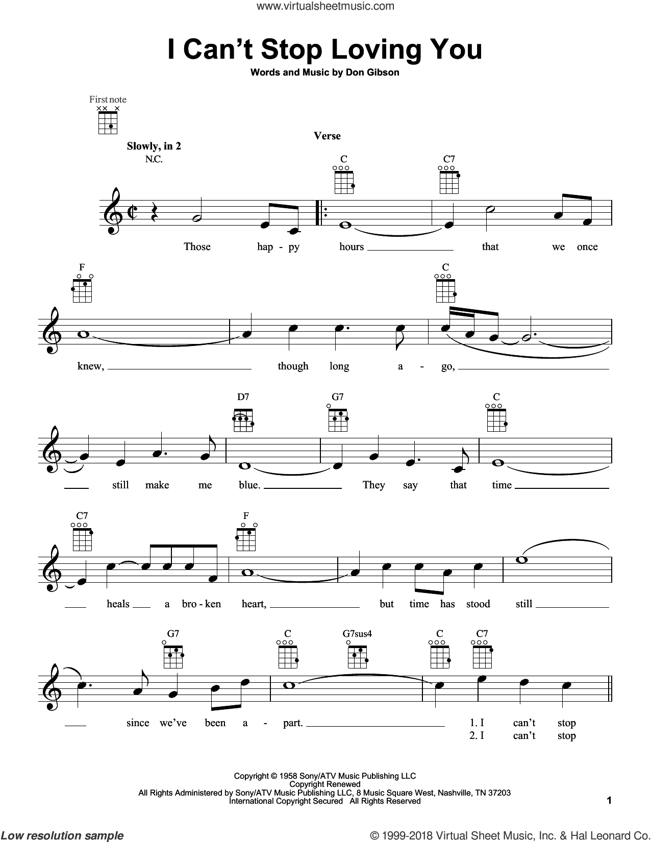 I Can't Stop Loving You sheet music for ukulele by Don Gibson, Conway Twitty, Elvis Presley, Kitty Wells and Ray Charles, intermediate skill level
