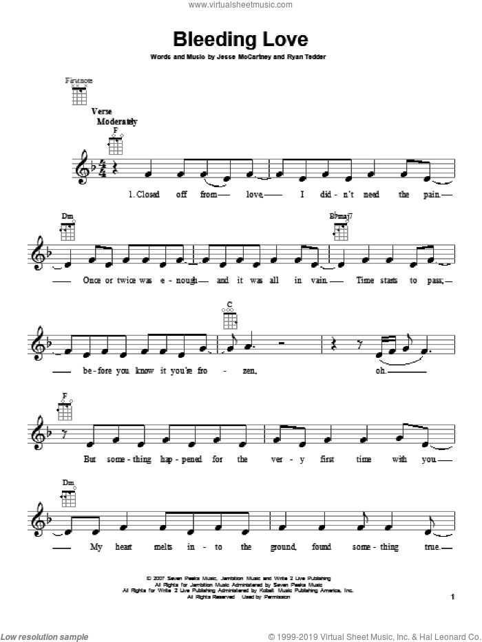 Bleeding Love sheet music for ukulele by Leona Lewis, intermediate ukulele. Score Image Preview.