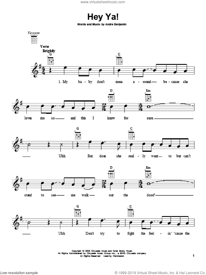 Hey Ya! sheet music for ukulele by OutKast, intermediate skill level