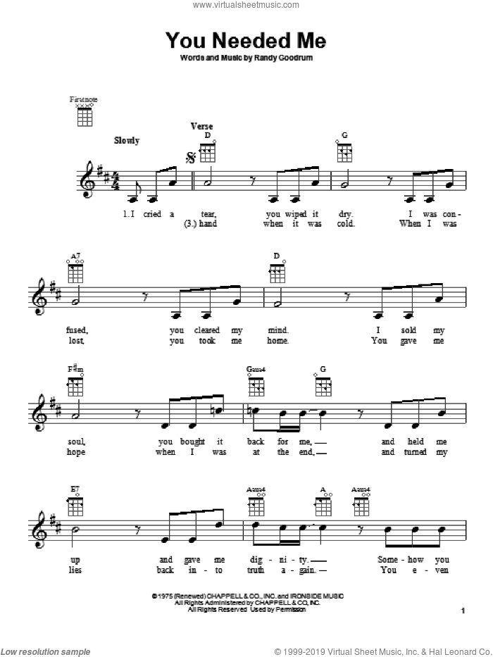 You Needed Me sheet music for ukulele by Anne Murray. Score Image Preview.