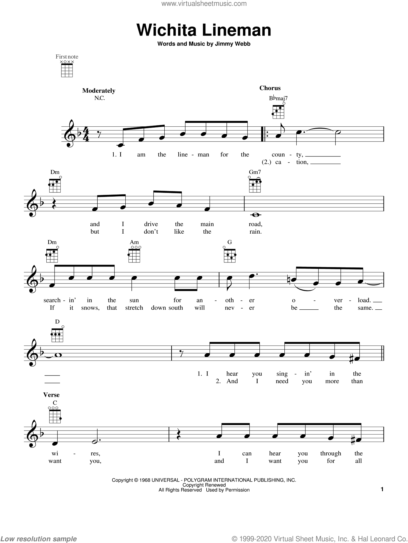 Wichita Lineman sheet music for ukulele by Glen Campbell. Score Image Preview.