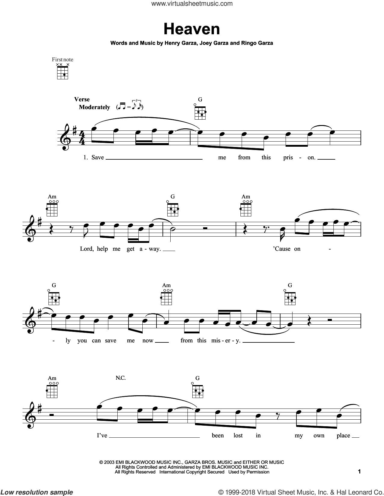 Heaven sheet music for ukulele by Los Lonely Boys, intermediate skill level