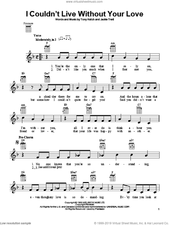 I Couldn't Live Without Your Love sheet music for ukulele by Petula Clark. Score Image Preview.