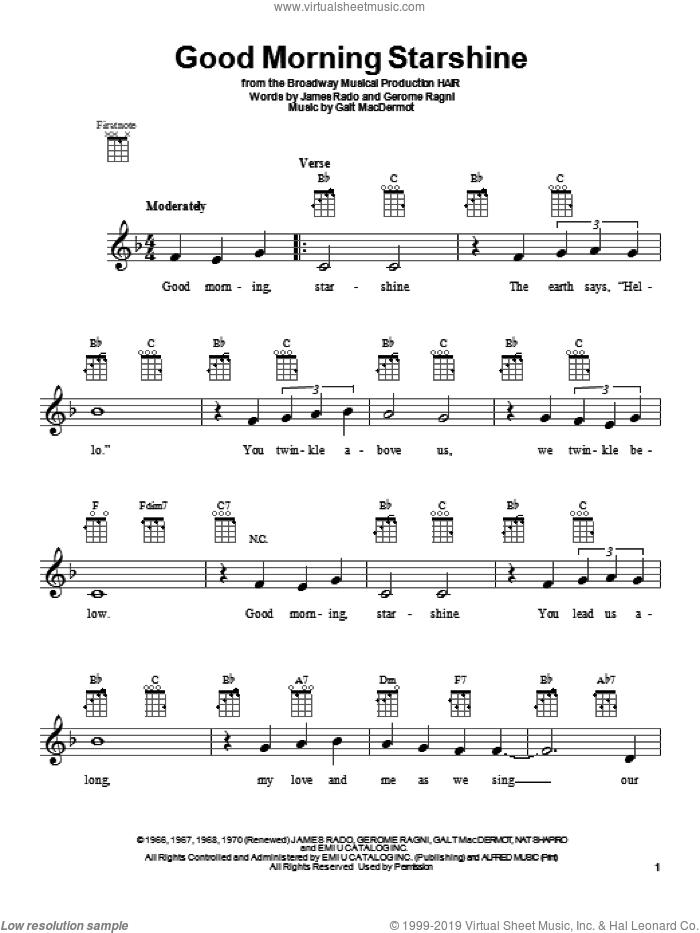 Good Morning Starshine sheet music for ukulele by Oliver Holden, intermediate skill level