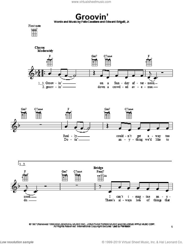 Groovin' sheet music for ukulele by Young Rascals, intermediate skill level