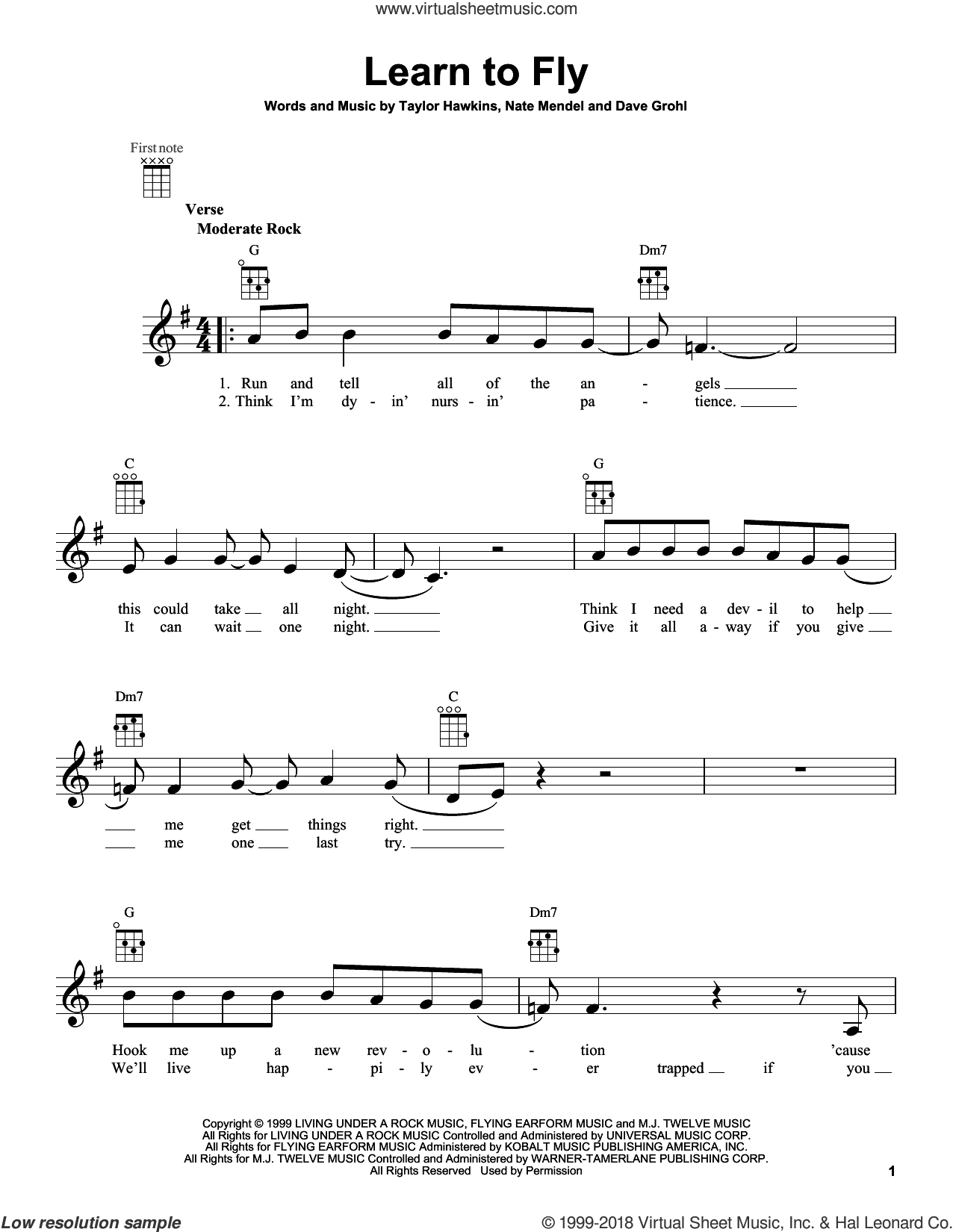 Learn To Fly sheet music for ukulele by Foo Fighters. Score Image Preview.
