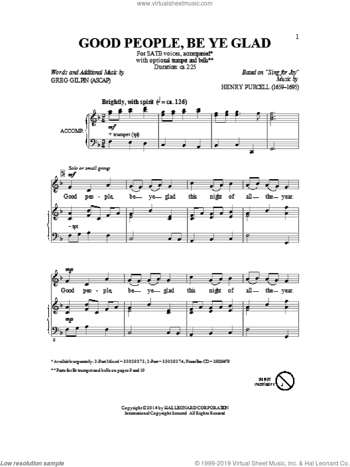 Good People, Be Ye Glad sheet music for choir (SATB) by Greg Gilpin. Score Image Preview.