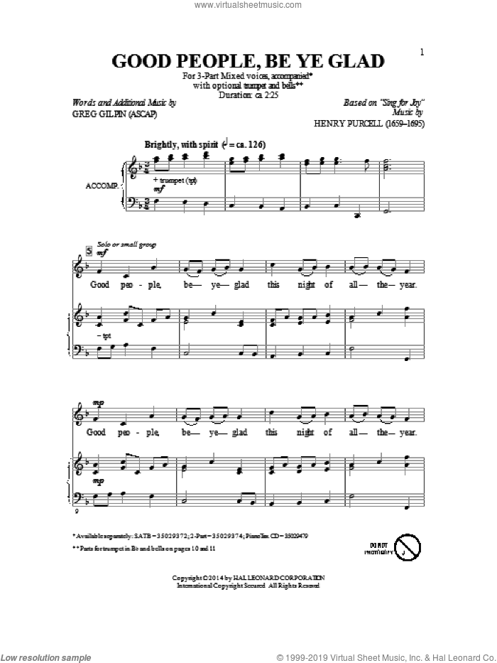 Good People, Be Ye Glad sheet music for choir (chamber ensemble) by Greg Gilpin. Score Image Preview.