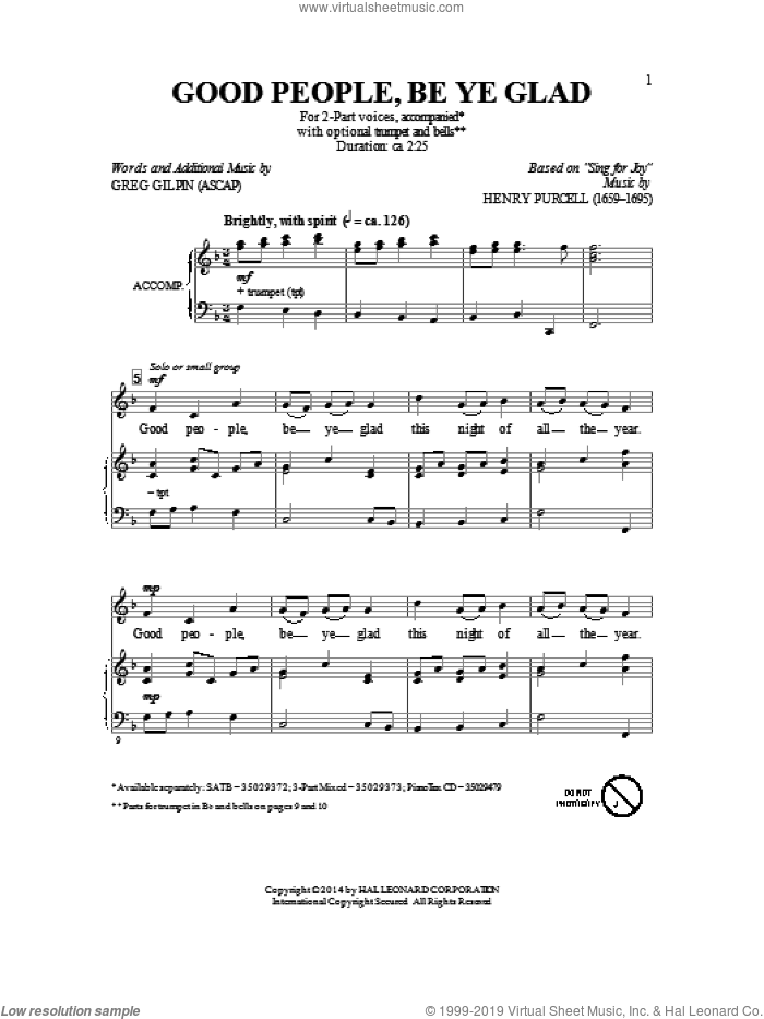 Good People, Be Ye Glad sheet music for choir (2-Part) by Greg Gilpin, intermediate duet