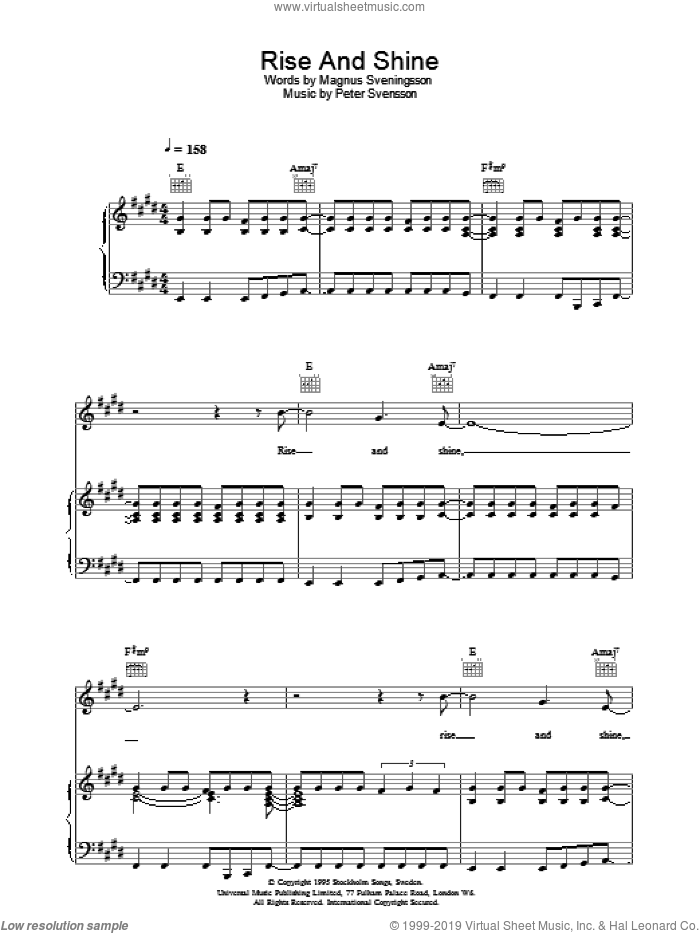 Rise And Shine sheet music for voice, piano or guitar by Peter Svensson
