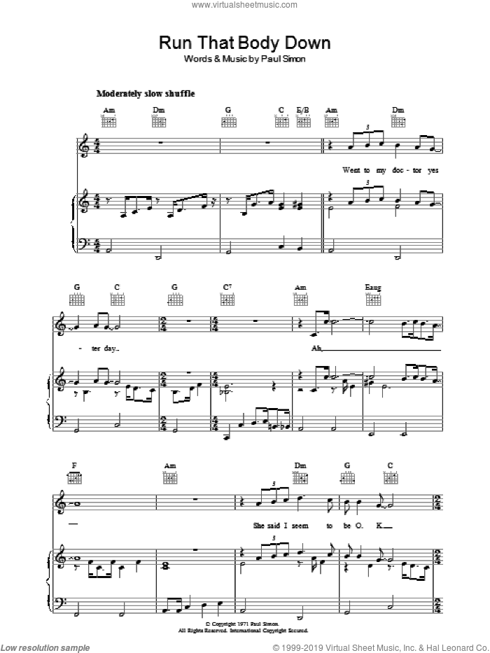 Run That Body Down sheet music for voice, piano or guitar by Paul Simon. Score Image Preview.