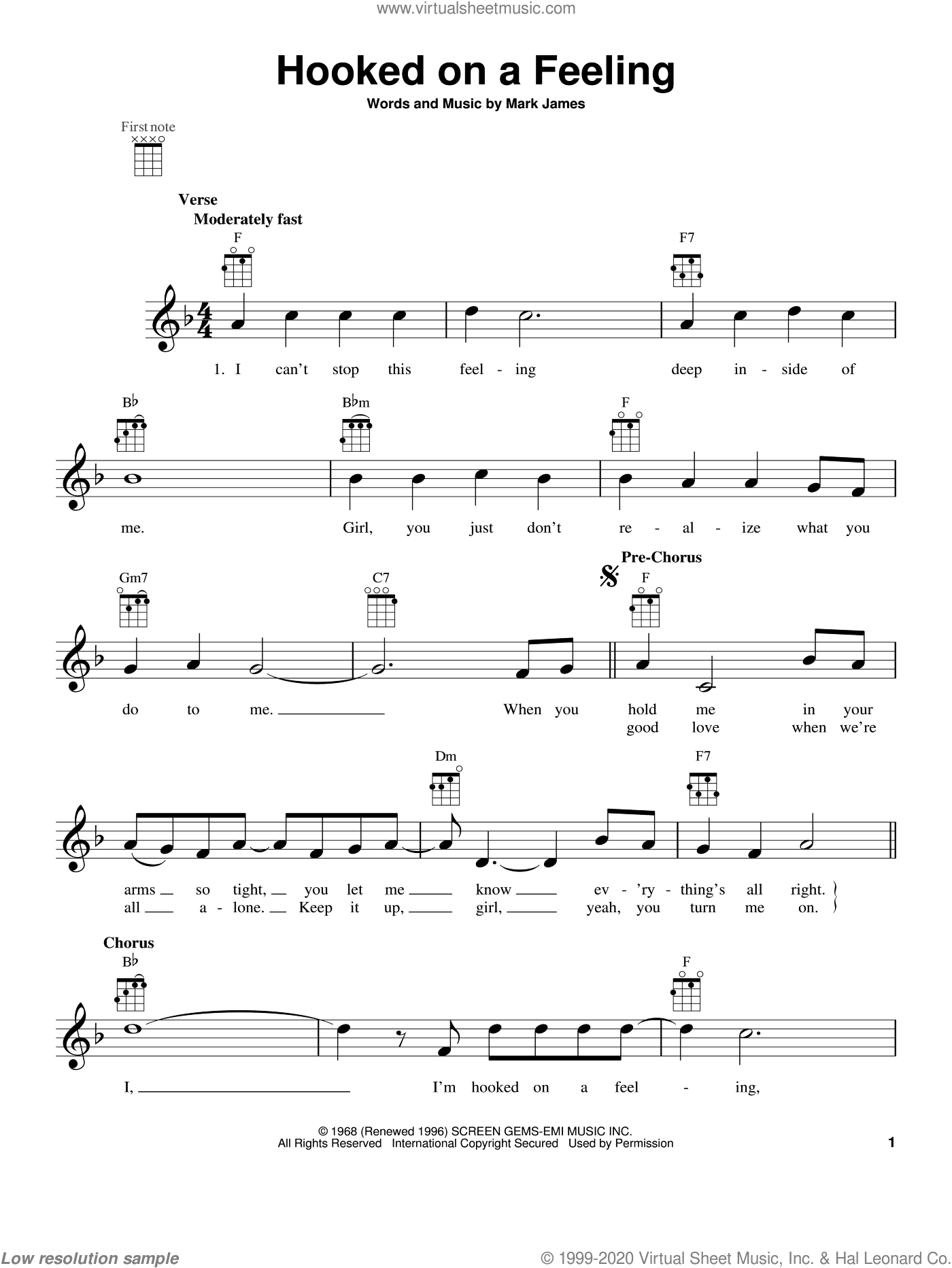Hooked On A Feeling sheet music for ukulele by B.J. Thomas, intermediate. Score Image Preview.