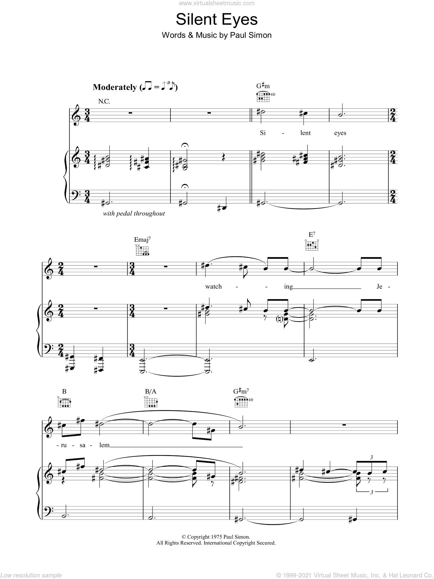 Silent Eyes sheet music for voice, piano or guitar by Paul Simon, intermediate. Score Image Preview.