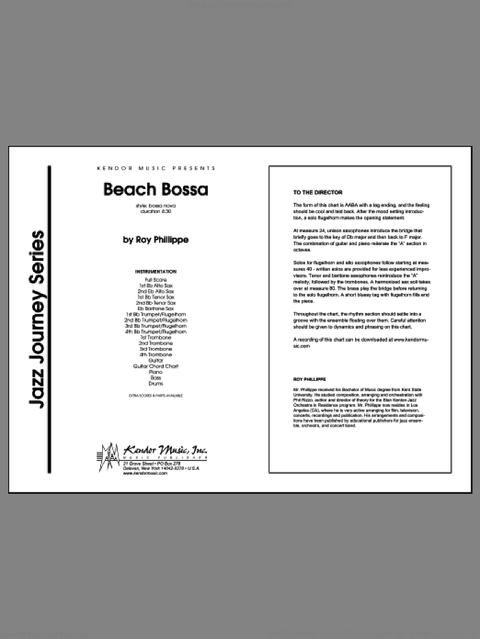 Beach Bossa (COMPLETE) sheet music for jazz band by Phillippe, intermediate. Score Image Preview.