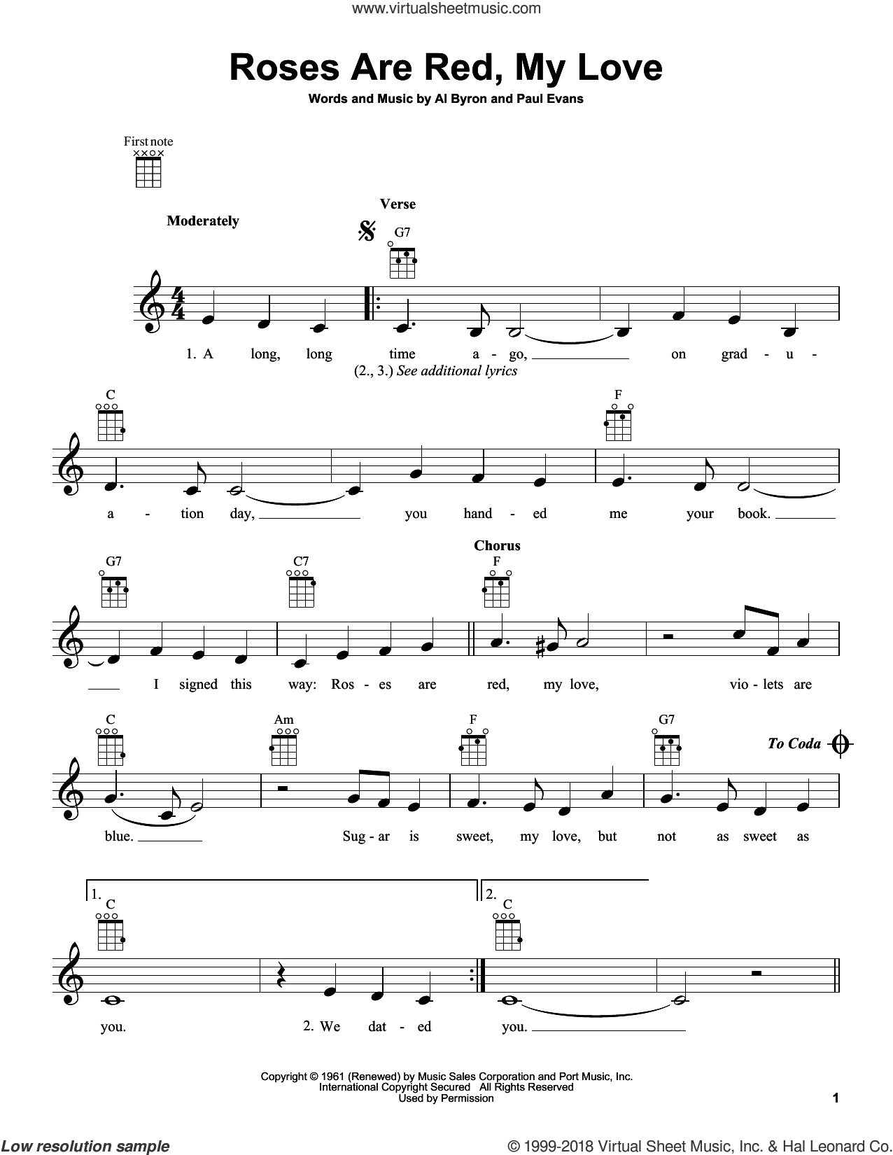 Roses Are Red, My Love sheet music for ukulele by Bobby Vinton, intermediate skill level
