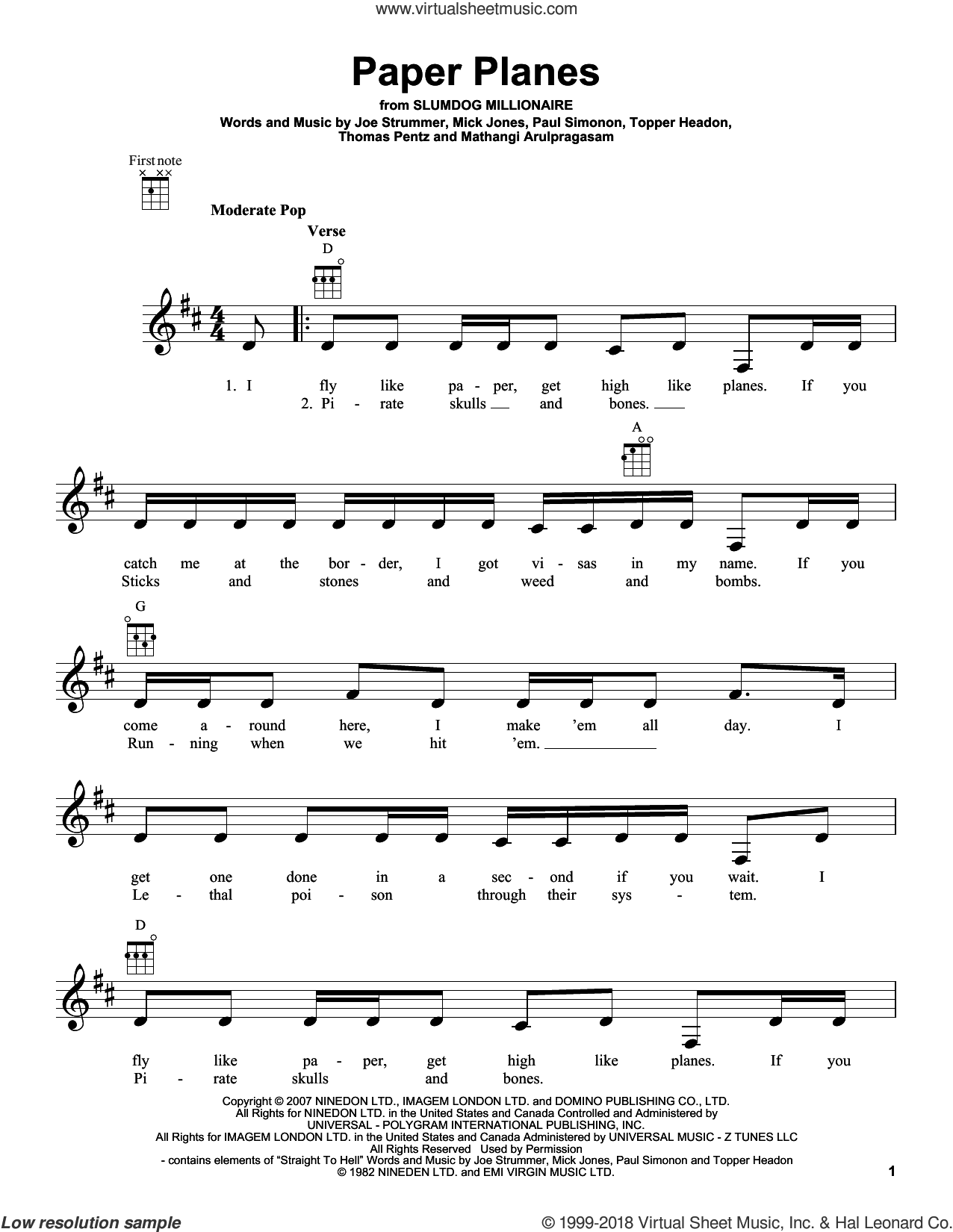 Paper Planes sheet music for ukulele by M.I.A.. Score Image Preview.