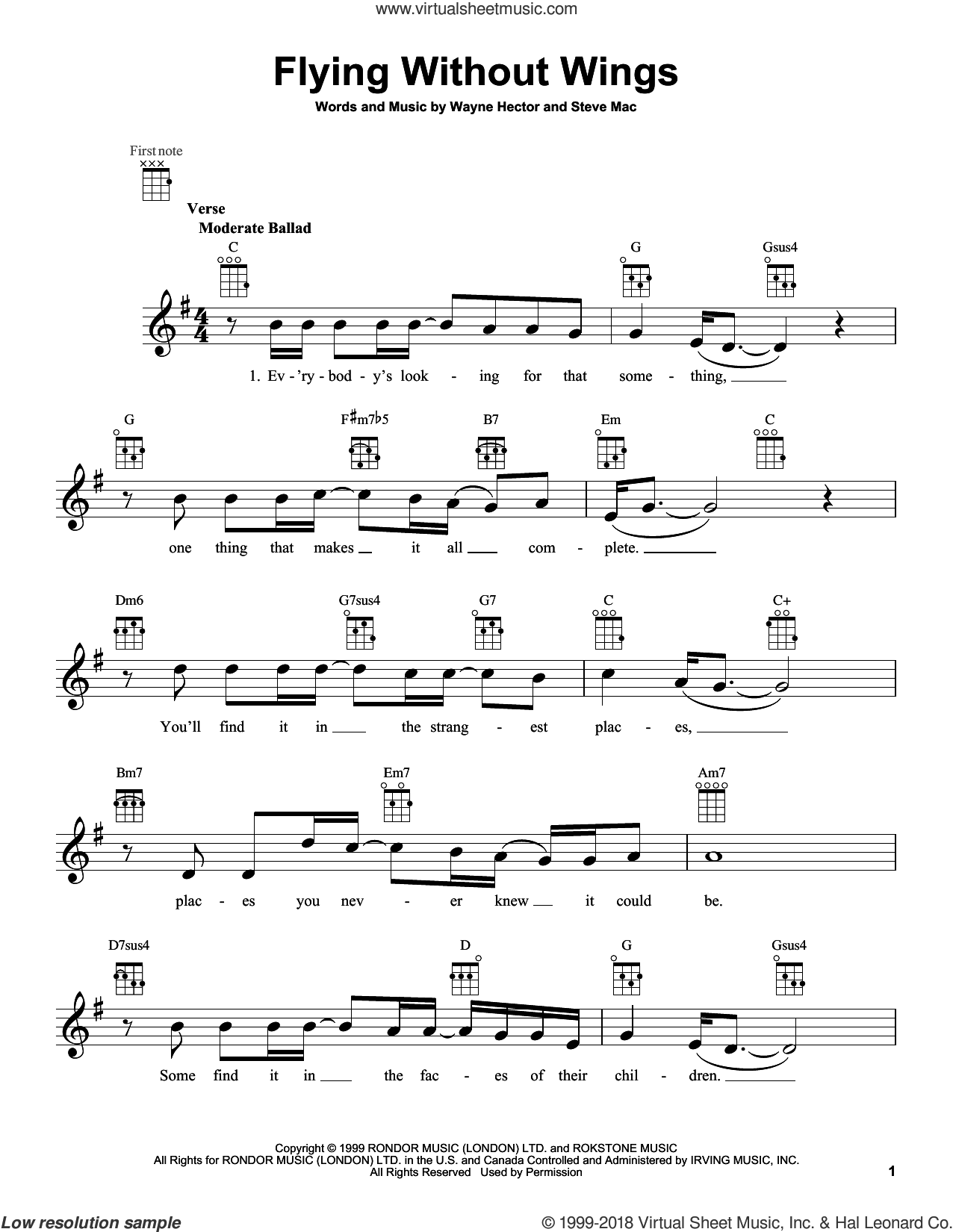 Flying Without Wings sheet music for ukulele by Ruben Studdard, intermediate