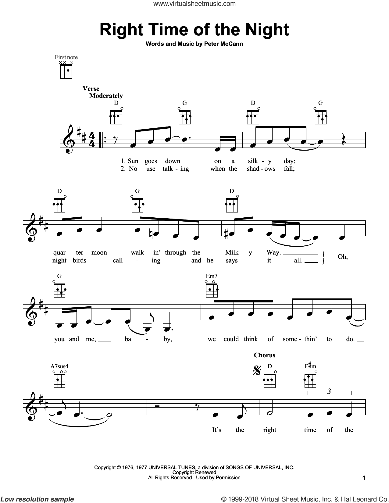 Right Time Of The Night sheet music for ukulele by Jennifer Warnes. Score Image Preview.