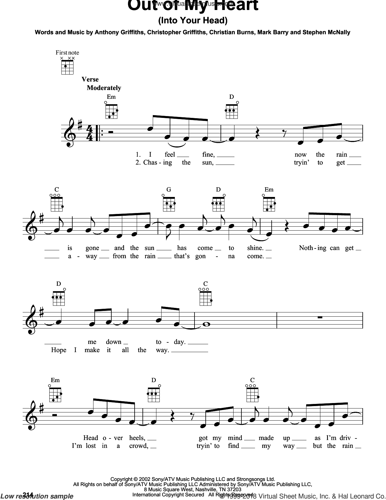 Out Of My Heart (Into Your Head) sheet music for ukulele by BBMak. Score Image Preview.