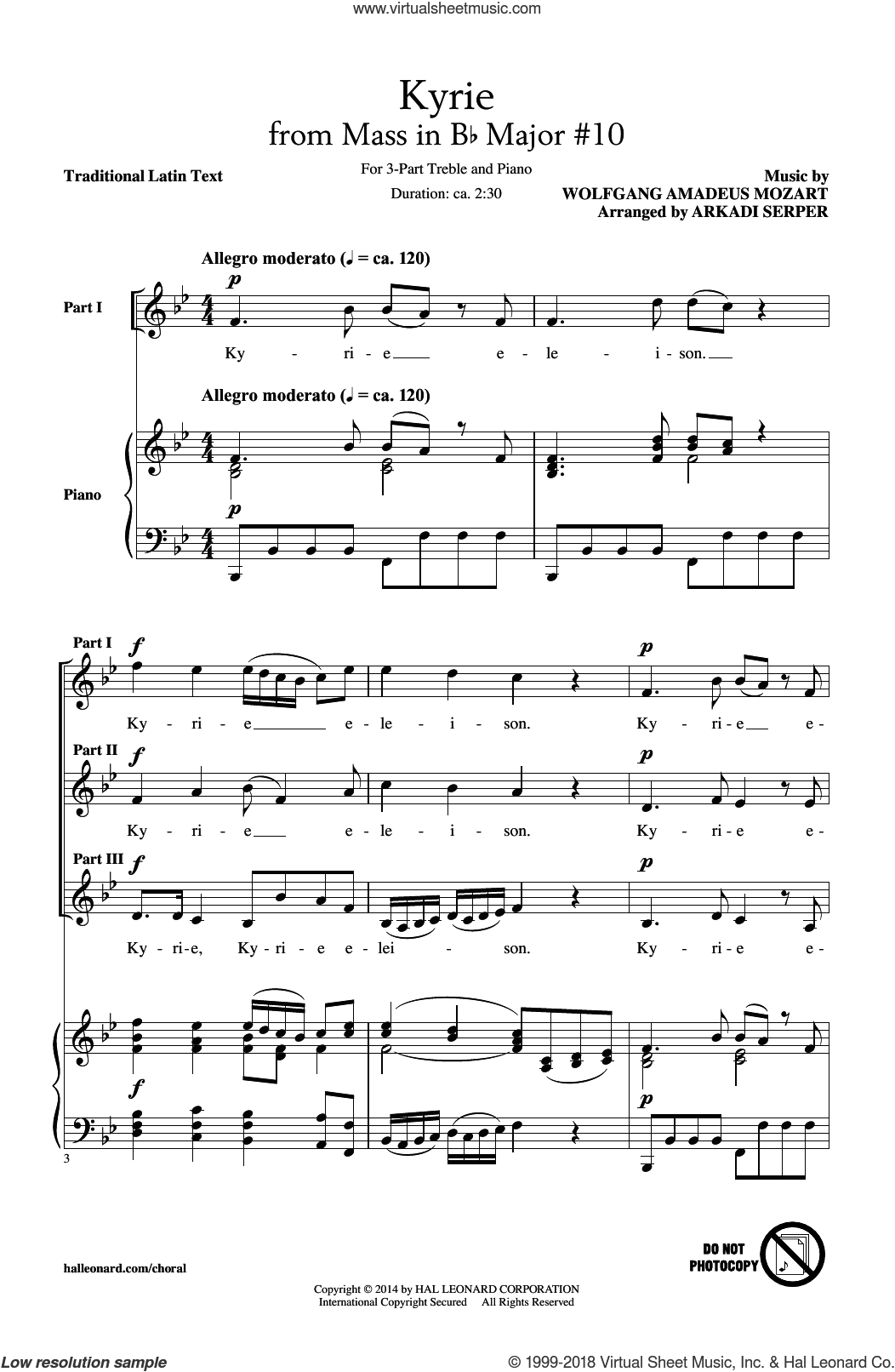 Kyrie (From The Mass In B-Flat Major #10) sheet music for choir (3-Part Treble) by Wolfgang Amadeus Mozart and Arkadi Serper, classical score, intermediate skill level