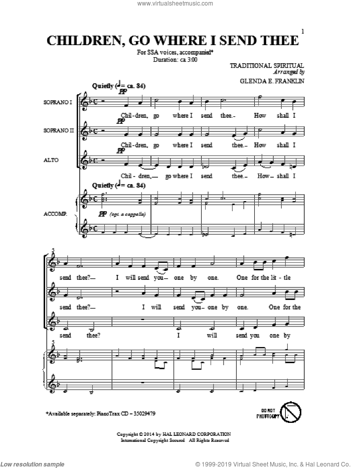 Children Go Where I Send Thee sheet music for choir (soprano voice, alto voice, choir) by Emily Crocker. Score Image Preview.