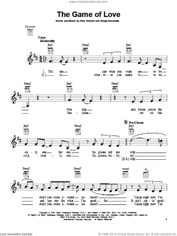 The Game Of Love sheet music for ukulele by Santana featuring Michelle Branch, intermediate skill level