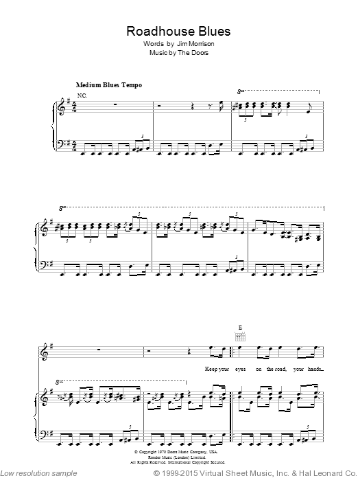 Roadhouse Blues sheet music for voice, piano or guitar by Robbie Krieger