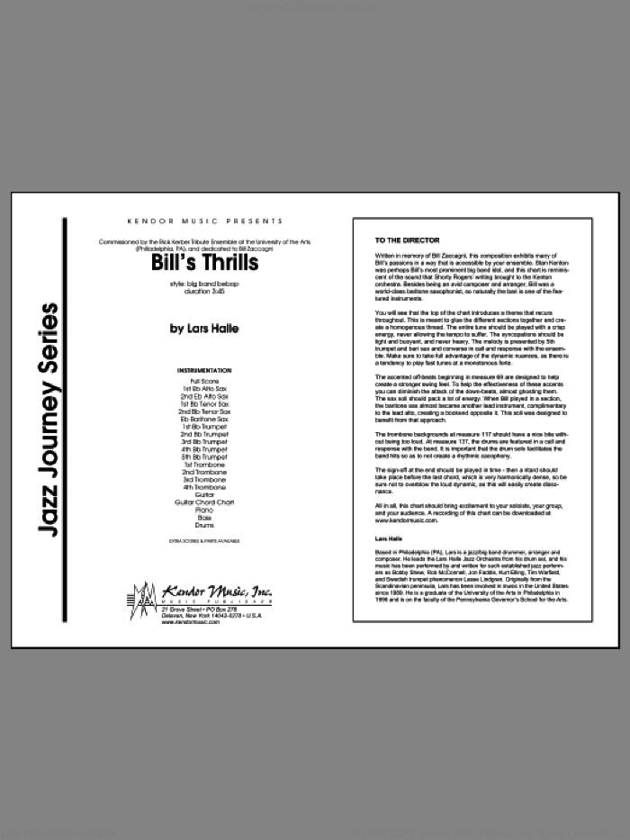 Bill's Thrills (COMPLETE) sheet music for jazz band by Halle, intermediate. Score Image Preview.