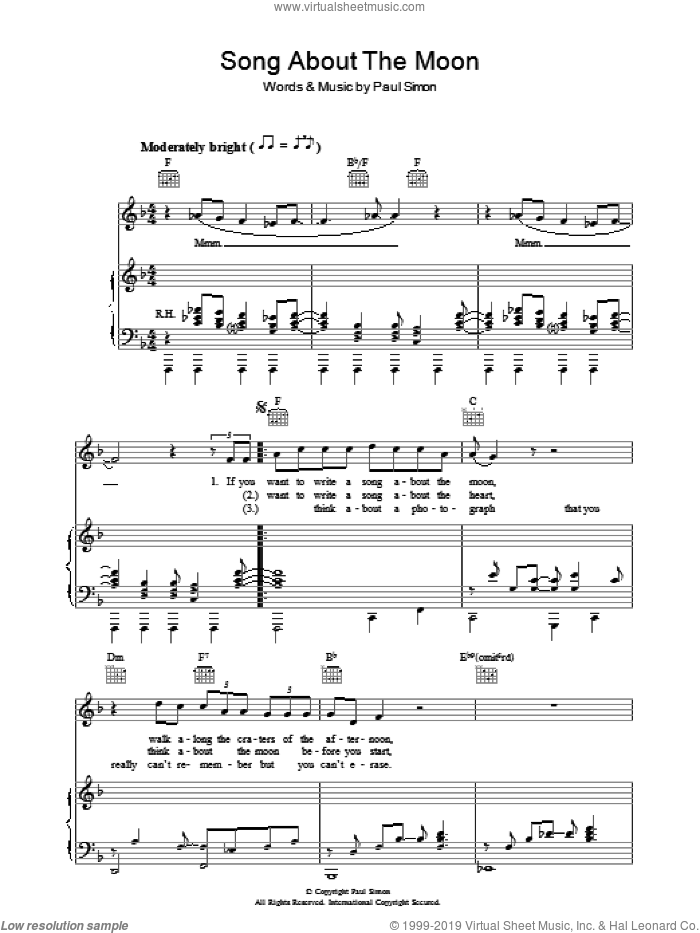 Song About The Moon sheet music for voice, piano or guitar by Paul Simon. Score Image Preview.