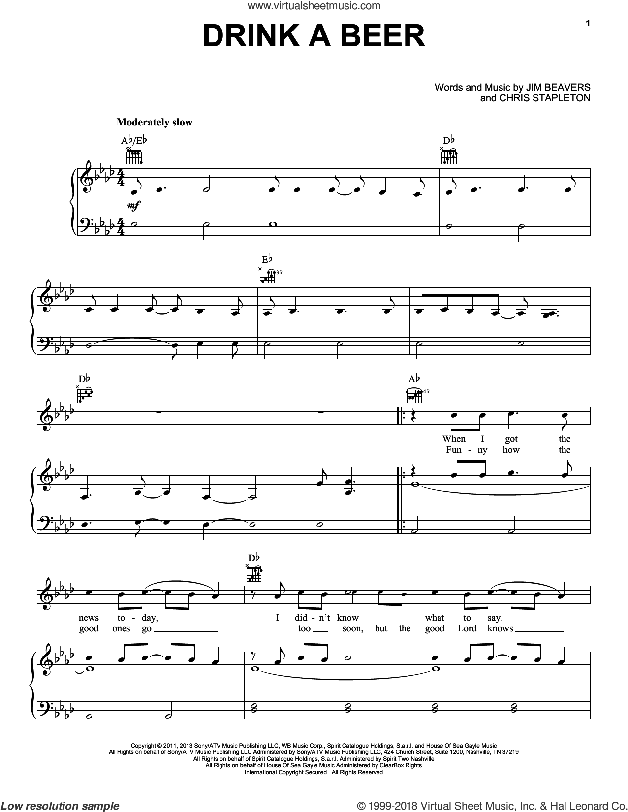Drink A Beer sheet music for voice, piano or guitar by Luke Bryan, intermediate skill level