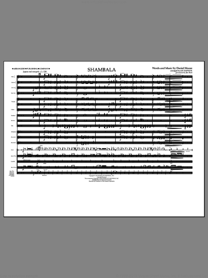 Shambala (COMPLETE) sheet music for marching band by Three Dog Night and Jay Dawson, intermediate. Score Image Preview.