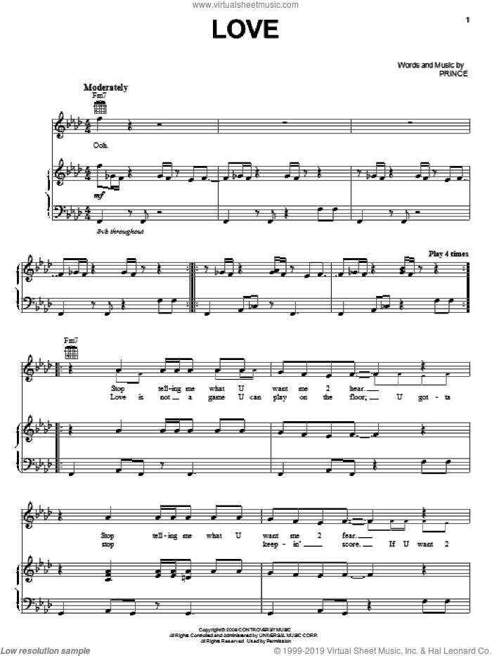 Love sheet music for voice, piano or guitar by Prince, intermediate voice, piano or guitar. Score Image Preview.