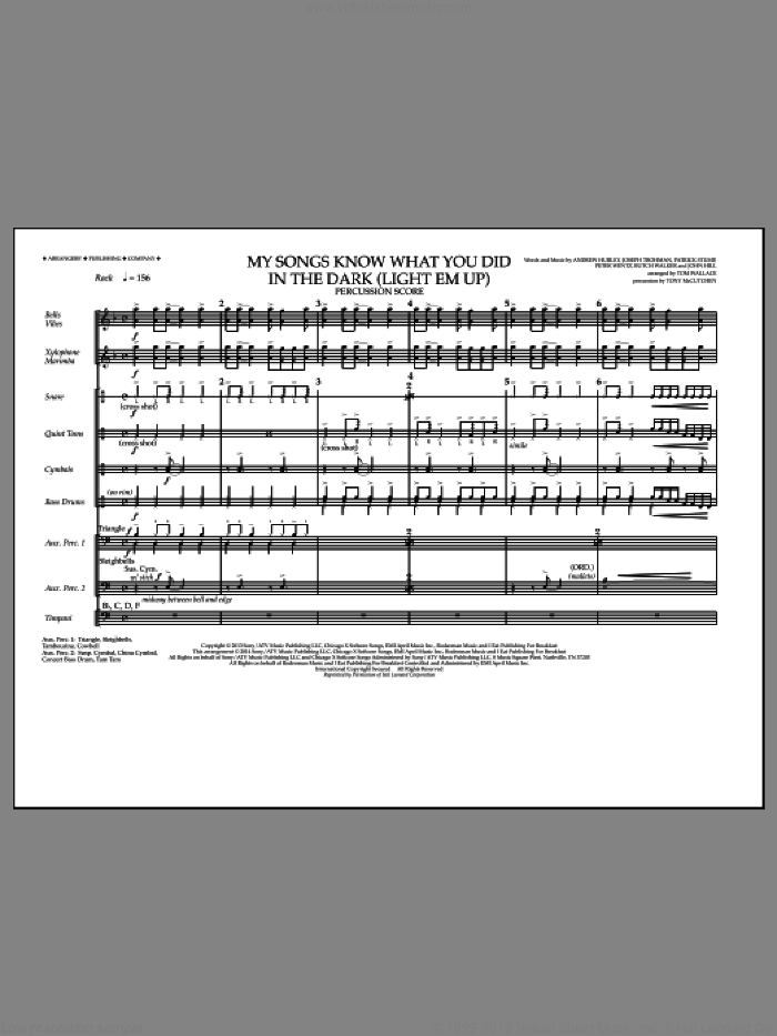 My Songs Know What You Did in the Dark (Light 'Em Up) (COMPLETE) sheet music for marching band by Fall Out Boy and Tom Wallace, intermediate. Score Image Preview.