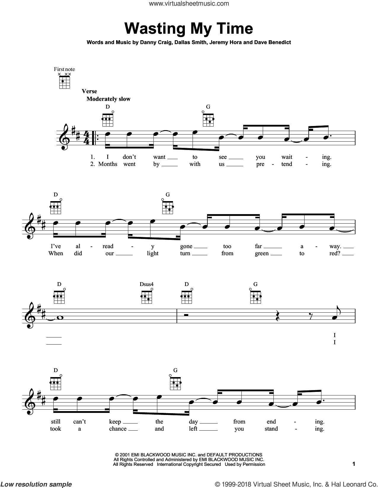 Wasting My Time sheet music for ukulele by Default, intermediate skill level