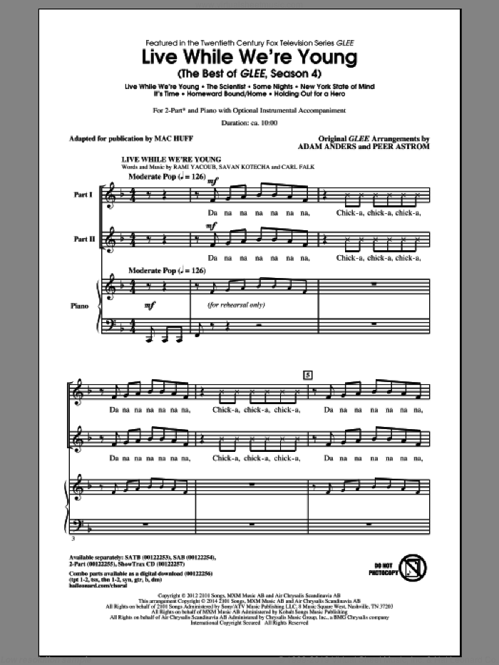 Live While We're Young (The Best of Glee Season 4) sheet music for choir (2-Part) by Mac Huff and Glee Cast, intermediate duet