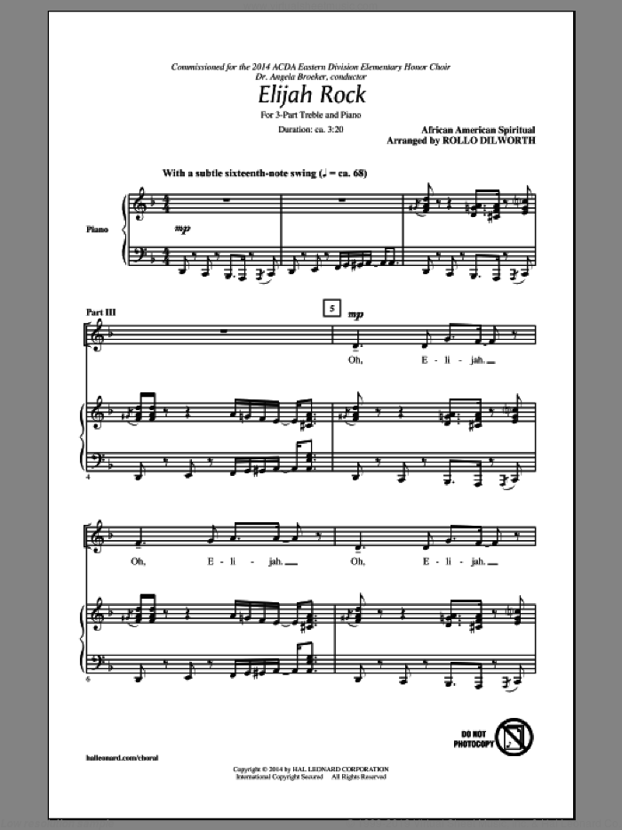Elijah Rock sheet music for choir (3-Part Treble) by Rollo Dilworth, intermediate. Score Image Preview.