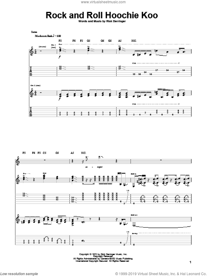 Rock And Roll Hoochie Koo sheet music for guitar (tablature) by Rick Derringer