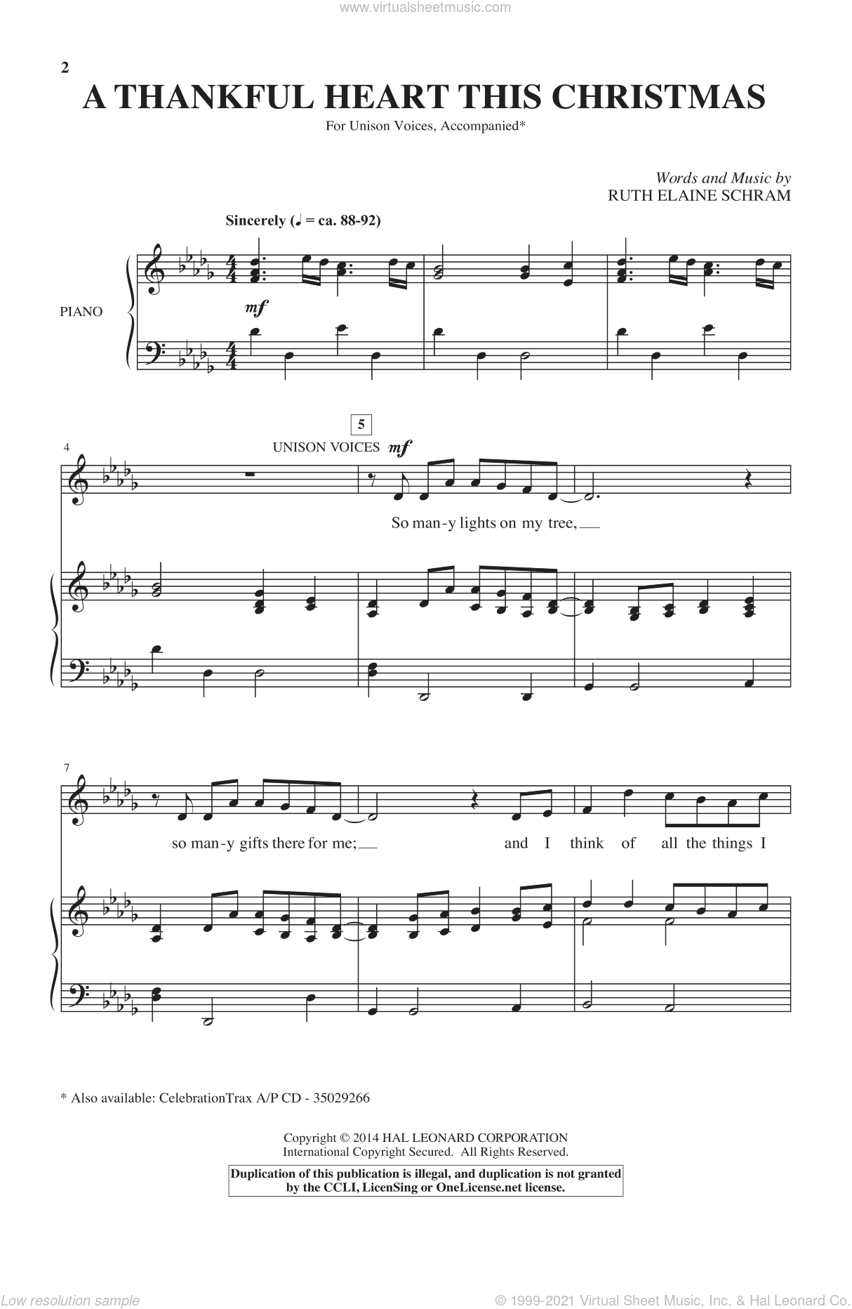 A Thankful Heart This Christmas sheet music for choir (solo) by Ruth Elaine Schram. Score Image Preview.