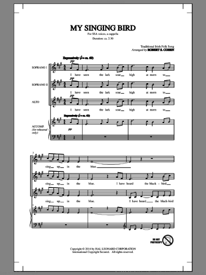 My Singing Bird sheet music for choir and piano (SSA) by Robert S. Cohen
