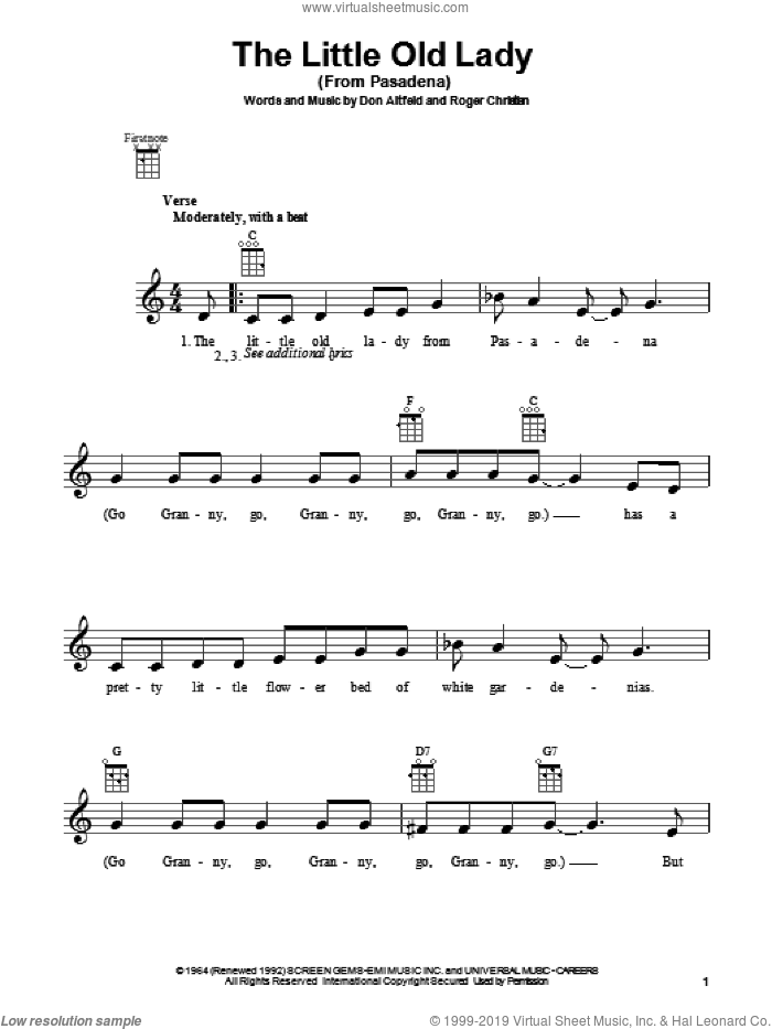 The Little Old Lady (From Pasadena) sheet music for ukulele by Jan & Dean, intermediate. Score Image Preview.