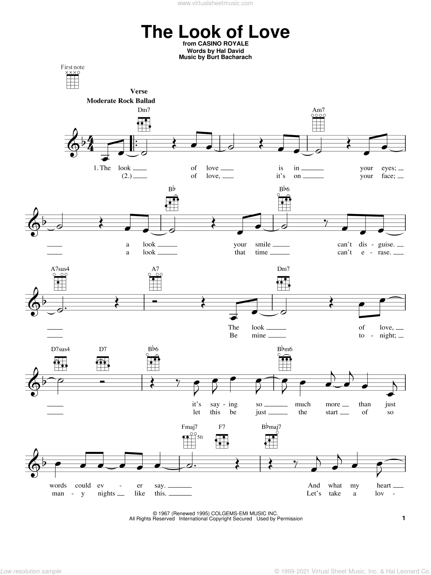 The Look Of Love sheet music for ukulele by Sergio Mendes & Brasil '66, Burt Bacharach and Hal David, intermediate. Score Image Preview.
