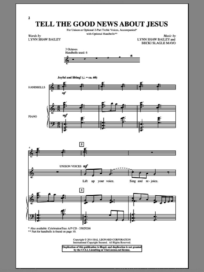 Tell The Good News About Jesus sheet music for choir by Becki Slagle Mayo and Lynn Shaw Bailey, intermediate skill level