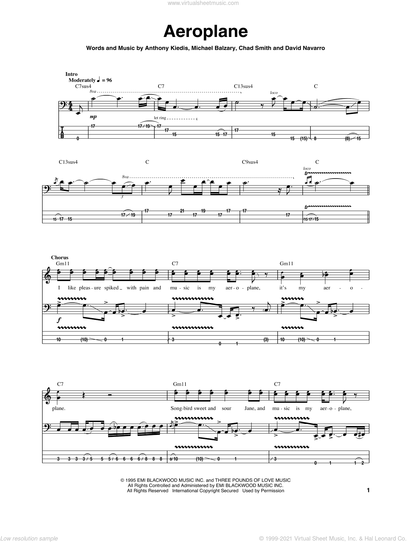 Aeroplane sheet music for bass (tablature) (bass guitar) by Red Hot Chili Peppers