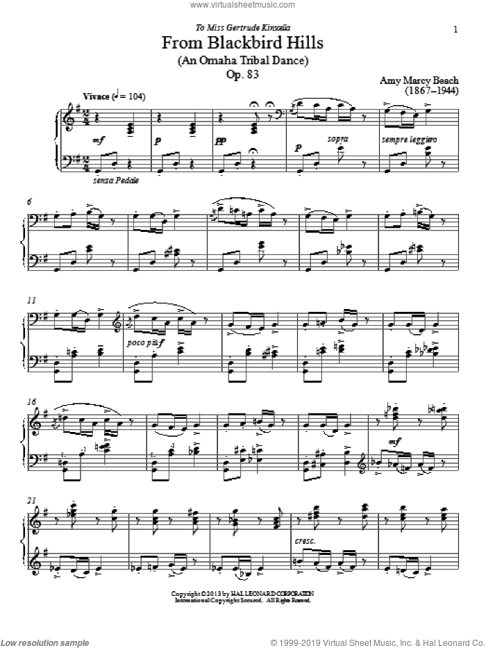 From Blackbird Hills, Op. 83 sheet music for piano solo by Amy Beach and Gail Smith, classical score, intermediate piano. Score Image Preview.